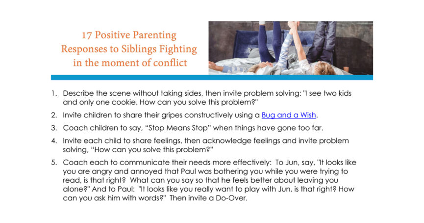 positive parenting sibling fighting